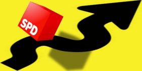 Grafik: SPD-Logo vor kurvigem Pfeil